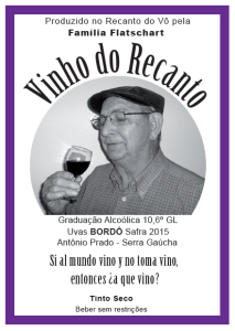 Rótulo Vinho do Recanto 2015